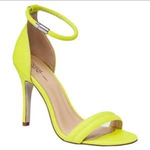Neon yellow ankle strap heel